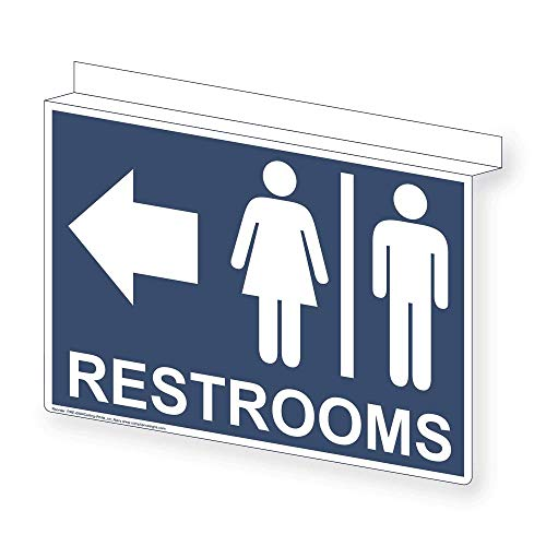 ComplianceSigns Aluminum Restroom Public / Private Ceiling Sign, 14 x 10 with English, Navy