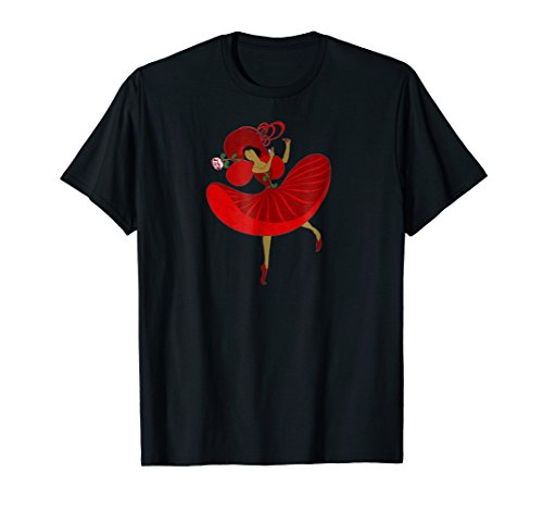 Cartoon Spanish Dancer in Red With a Rose & Castanets TShirt