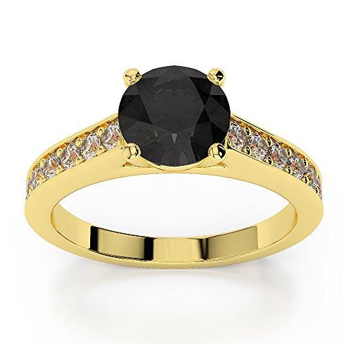 Or jaune 18carats 1CT G-H/VS Certifié Coupe ronde Bague de fiançailles de diamant Noir Agdr-1222