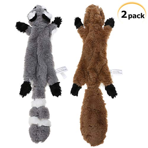 PDTO No Stuffing Dog Toy, Stuffing Free Dog Chew Toys Set with Squirrel and Raccoon Squeaky Plush Dog Toy for Small and Medium Dogs - 2 Packs, 15.7 Inch