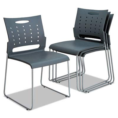 (Alera ALESC6546 Continental Series Perforated Back Stacking Chairs, Charcoal Gray (Case of 4))