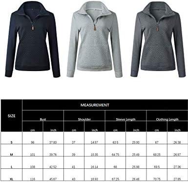 Besshopie Pullover Sweatshirts with Pockets Women 1/4 Zip up Hoodie Fashion Pullover Tops