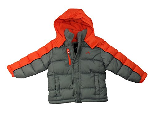 Vertical '9 Boys Insulated Puffer Hooded Ski Jacket Coat (Grey)