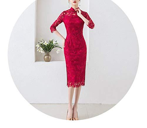 味方質量平らな刺繍レース镂空の長いファッションスリムセクシーなドレススリーブドレス,スリーブワイン,ザ?