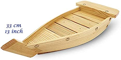 Wooden Sushi Boat Shape Plate Japanese Sushi Sashimi Serving Plate Tray 33cm for Restaurant or Home Use 13 inch