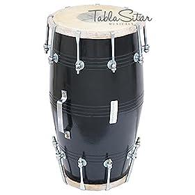 Maharaja Musicals Dholki, Black, Mango Wood, Bolt-tuned, Spanner, Padded Bag, Dholak Drum Instrument (PDI-FJ) 1