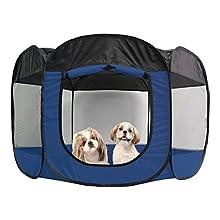 FurHaven Pet Playpen | Mesh Open-Air Dog Playpen/Exercise Pen, Sailor Blue, X-Large