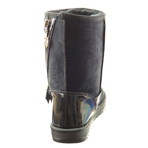 Sopily - Scarpe da Moda Stivaletti - Scarponcini donna fibbia zip verniciato Tacco a blocco 2.5 CM - soletta sintetico - foderato di pelliccia - Nero