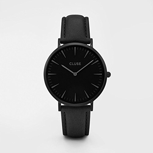 CLUSE La Bohème Full Black CL18501 Women's Watch 38mm Leather Strap Minimalistic Design Casual Dress Japanese Quartz Elegant Timepiece from CLUSE