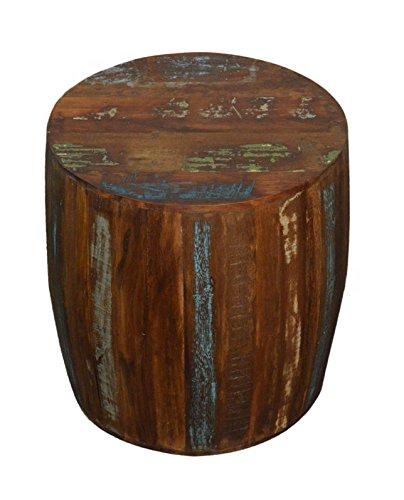 Attirant Reclaimed Wood Rustic Drum Barrel Style Side Table Stool