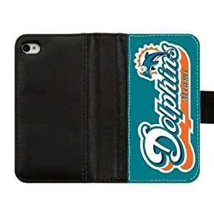 Quaroth AZA Leather Case for iPhone 4 iPhone 4S, Miami Dolphins Protective iPhone Cover-Black-Retail Packaging