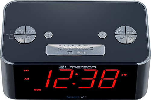 Emerson ER100201 SmartSet Alarm Clock Radio with Bluetooth Speaker, Charging Station/Phone Chargers with USB port for iPhone/iPad/iPod/Android and Tablets