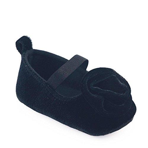 Huhu833 Kinder Mode Mädchen Schuhe Floral Solid Krippe Stiefel Weiche Sohle Prewalker Schuhe Schwarz