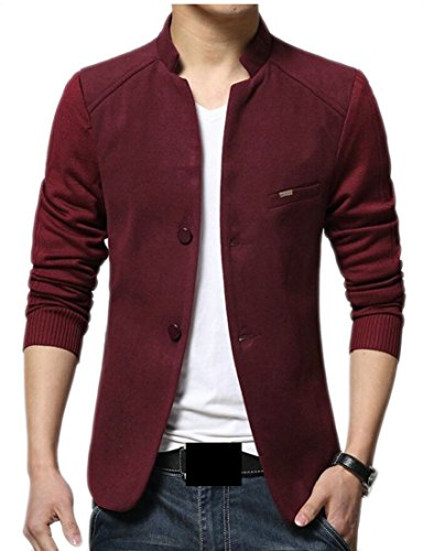 ainr Men's Base Long Sleeves Band Collar Jacket Blazer Blazer Red XS - Band Collar Blazer