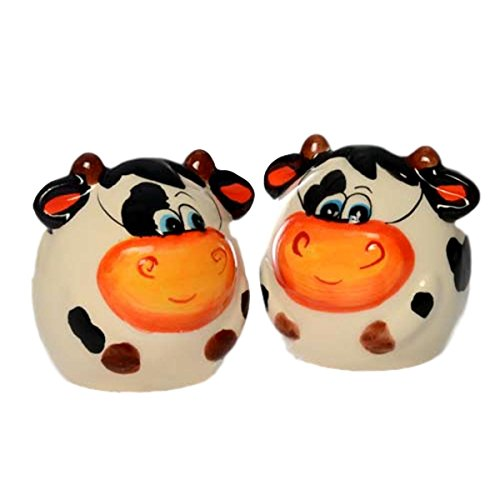 Sofi Happy Cow Lover Ceramic Table Top Set Sal and Pepper Shakers