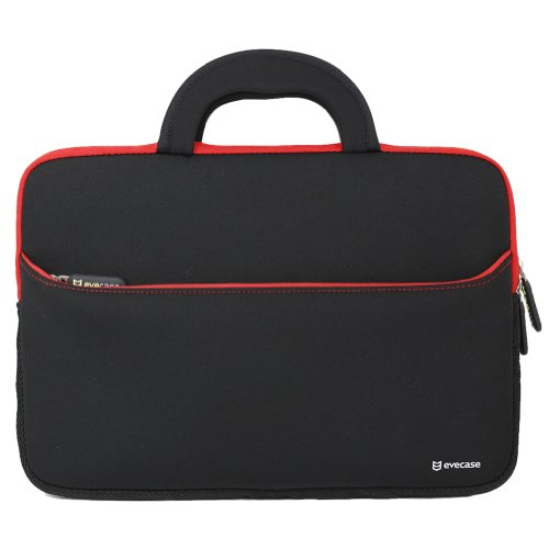 13.3 - 14.5 inch Laptop Sleeve, Evecase Ultra-Portable Universal Neoprene Carrying Case Bag with Handle and Accessory Pocket Fits with 13.3 - 14.5 inch Laptop Notebook Ultrabook Macbook - Black/ Red