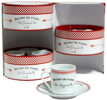 Porcelain Kisses (Bistro de Paris Porcelain Espresso Cup & Saucer, Set of 6)