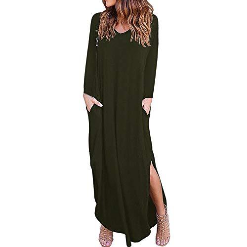 ◐OFEFAN◑ Women's Casual Loose Pocket Long Dress Short Sleeve Split Maxi Dresses Army Green ()