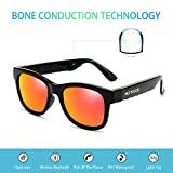 Bluetooth Headphones Wireless Stealth Headphones Glasses Sunglasses Bone Conduction Waterproof Intelligent Songs Artifact 6 Color Microphone Phone (Orange Lens)