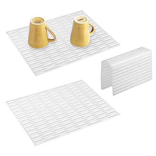 mDesign Kitchen Large Sink Protector Mat Pad Set, Quick Draining - Use In Sinks to Protect Surfaces and Dishes - Ribbed Pattern - Includes 1 Sink Saddle, 2 Sink Mats - Set of 3, Silicone, Clear (Ribbed Pattern Grade)