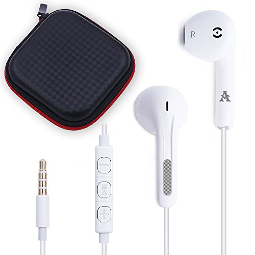 JJCall Premium 3.5MM Iphone Earphones/Headphones/Earbuds with Stereo Mic&Remote Control for Apple Device + 1 Carry Case