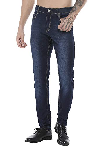 ZADDIC Skinny Fit Jeans Men's Younger-Looking Fashionable Colorful Super Comfy Stretch Slim Fit Tapered Jeans Pants. Blue