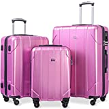 Merax 3 Pcs Luggage Set with Built-in TSA, Eco-friendly P.E.T Light Weight Spinner Suitcase Set (pink)
