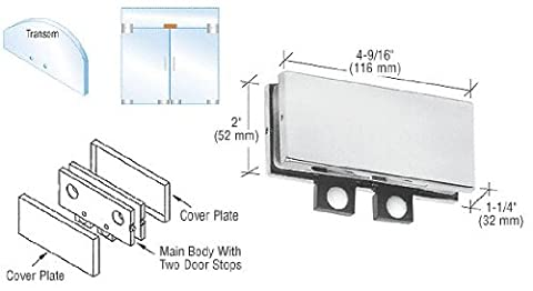CRL Aluminum Finish Transom Mounted Connector with Two Reversible Door Stops
