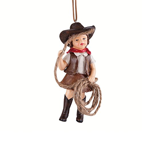 Christmas Tree Ornament – Hanging Xmas Holiday Decoration, Decorative Embellishment in Winter Holliday Design, Junior Cowgirl, 4 (Day Xmas Ornament)