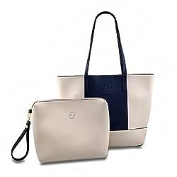 Minch Composite Bag Set For Women Large Capacity Panelled Shoulder Bags Fashion Design Handbag Gray Navy