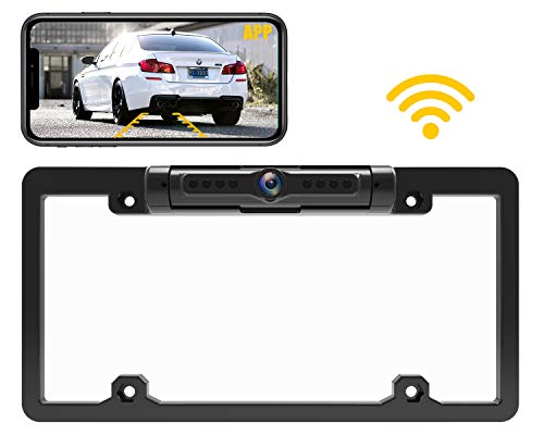 Calmoor License Plate Wireless Backup Camera with Night Vision IP69K Waterproof 170 Degrees Wide Viewing Angle WiFi Reverse Rear View Camera for Cars RVs Pickups Simple Installation (Best Contact Backup App For Android)