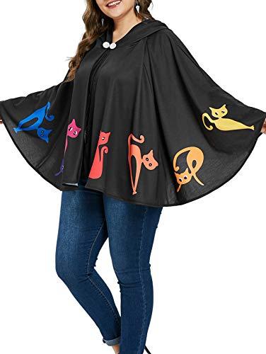 KENANCY Women Plus Size Halloween Costume Blouse Spider Web Print Poncho Coat ()