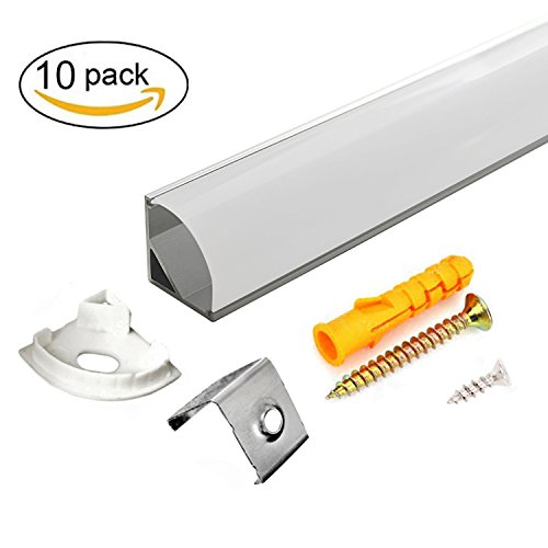 10 PACK 1M/3.3ft V-Shape LED Aluminum Channel with Milky White PC Cover for Strip Lights Installation,Spot-Free Neon Effect LED Strip Light Channel with Complete Mounting Accessories - Silver Shield System