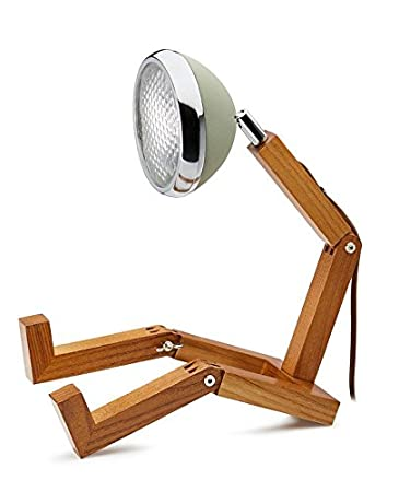 Mr Wattson Led Tischlampe Holz Metall Grun Amazon De Kuche Haushalt