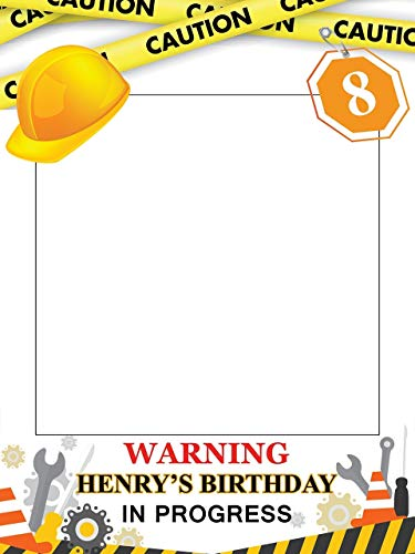 Customize Construction Warning Zone Party Happy Birthday Photo Booth Prop - sizes 36x24, 48x36; Pesonalized Large Caution Under Construction Home Decorations, Handmade Party Supply Photo Booth Frame