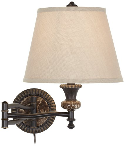 Bronze Plug-In Swing Arm Wall Lamp w/Faux Marble Backplate