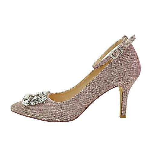 Glitter Ankle Brooch Women Glitter inches Blush Wedding Prom Shoes Evening 3 Dress Strap ERIJUNOR Pumps Rhinestones 4U6q0qx