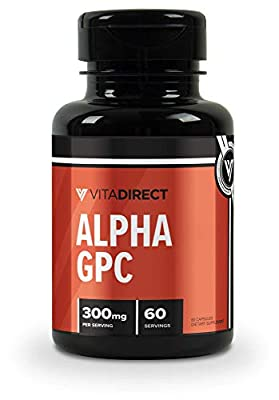 VitaDirect Premium Alpha-GPC 300mg Pills, 60 Vegetarian Pills, Alpha GPC Choline Supplement, High Quality Supplements, Made in The USA.