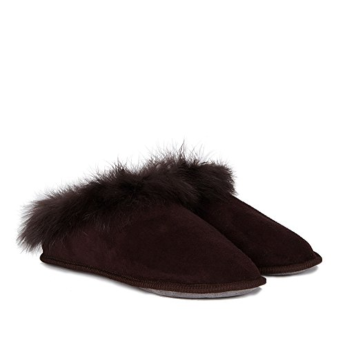 Celtic & Co Womens Fluffy British Shearling Toscana Slippers - Aubergine - Size 9