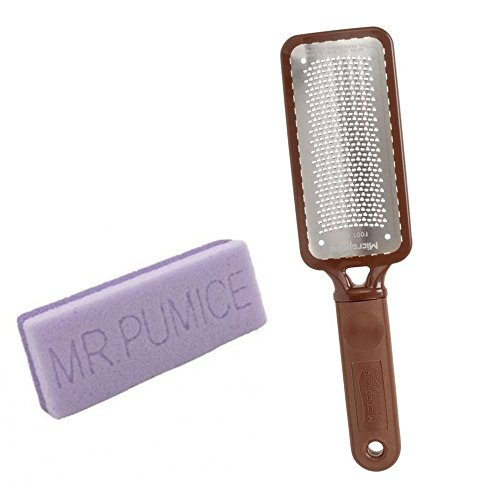 Ultimate Foot File (Microplane Foot File Rasp Colossal Callus Remover Brown Color+ Mr Pumice Ultimate Bar)