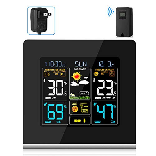Price comparison product image AEVOBAS Wireless Weather Station with Indoor Outdoor Sensor,  Digital Alarm Clocks,  HD Temperature Humidity Gauge,  Forecast Weather Station,  USB Charging Socket for Mobile Devices