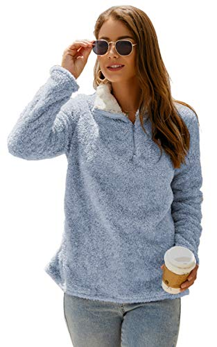 Angashion Womens Sweatshirt - Long Sleeve 1/4 Zip Up Faux Fleece Pullover Hoodies Coat Tops Outwear with Pocket 174 Navy Blue M