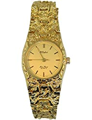Dufonte By Lucien Piccard Womens Vintage Gold Plated Nugget Round Watch