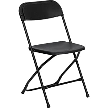 Flash Furniture 10 Pk HERCULES Series 800 Lb Capacity Premium Black Plastic Folding Chair