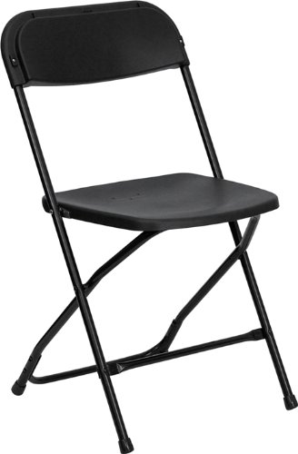Flash Furniture 10 Pk. HERCULES Series 800 lb. Capacity Premium Black Plastic Folding Chair by Flash Furniture