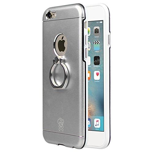 Telefoni Cellulari Custodia, Case per iPhone 6/6S, lega di magnesio Prince Hat + PC + TPU caso combinato con anello titolare Stand (Color: Silver)