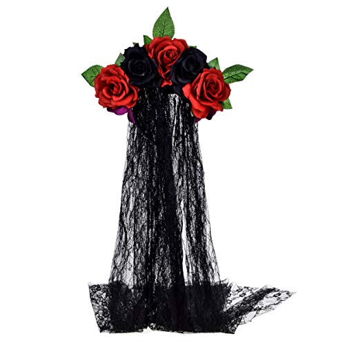 (June Bloomy Day of the Dead Headpiece Rose Floral Crown Veil Halloween Costume Mexican Headband (Red)