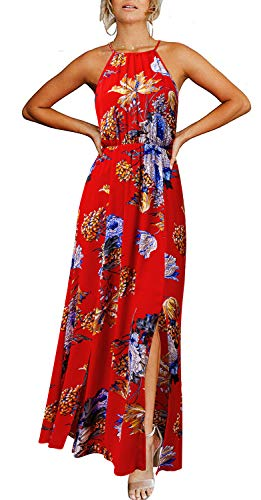 (Aliling Sundresses for Women, Teen Girls Summer Cold Shoulder Beach Dress Floral Print Halter Side Split Long Maxi Dress Red M)