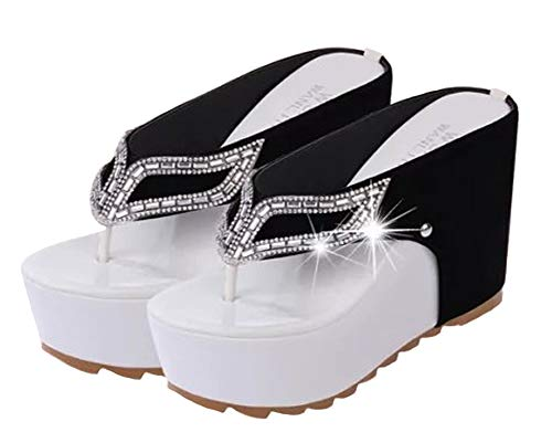 Hanxue Womens Glitter Chunky Wedge Flip-Flops Sandals-Black Rinestone02-US6