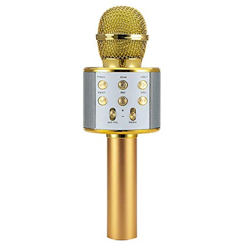 putdWH99 WS858 Wireless Karaoke Handheld Microphone USB Player Bluetooth Mic Speaker Golden